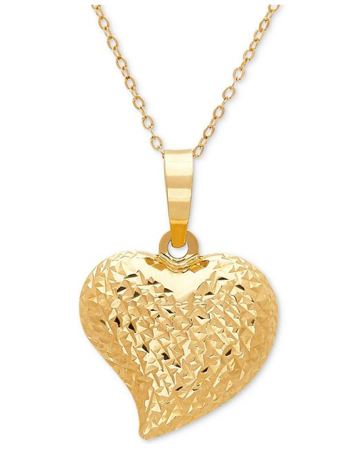 Macy's - Metallic Textured Puff Heart Pendant Necklace In 10k Gold - Lyst