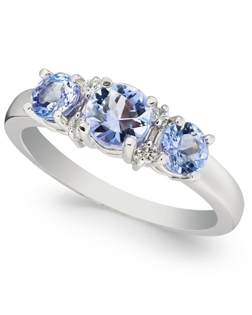 Macy's Multicolor Tanzanite (1-1/10 Ct. T.w.) & Diamond (1/20 Ct. T.w.) Ring In 14k White Gold
