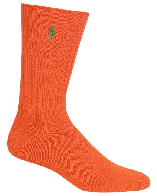 Polo Ralph Lauren - Orange Men's Crew Socks for Men - Lyst