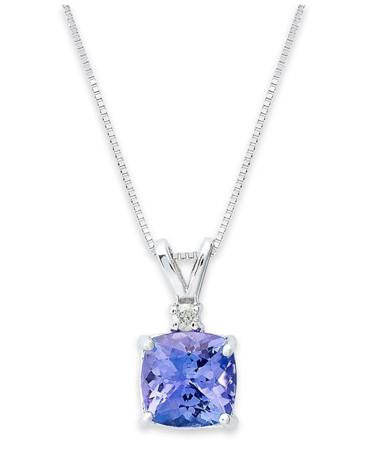 Macy's - 14k White Necklace, Tanzanite (1-5/8 Ct. T.w.) And Diamond Accent Cushion Pendant - Lyst