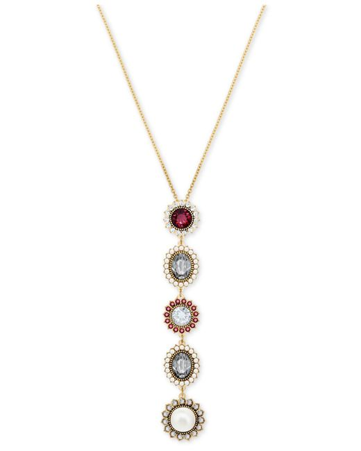 "Swarovski - Metallic Gold-tone Crystal & Imitation Pearl Pendant Necklace, 14-7/8"" + 2"" Extender - Lyst"