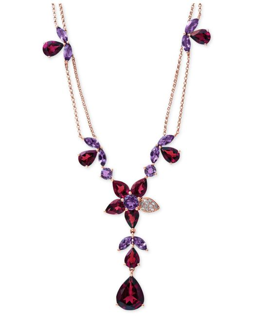 Effy Collection | Red Rhodolite Garnet (13-1/5 Ct. T.w.), Amethyst (3-1/2 Ct. T.w.) And Diamond Accent Necklace In 14k Rose Gold | Lyst