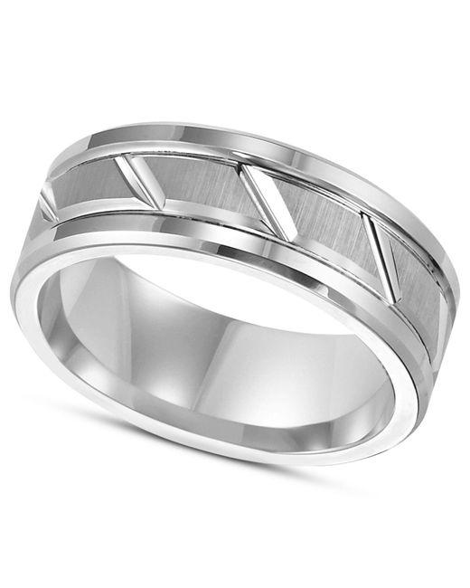 Triton - Multicolor Men's White Tungsten Carbide Ring, 8mm Diamond-cut Wedding Band for Men - Lyst