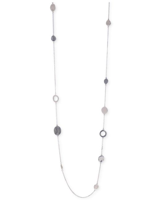 Kenneth Cole - Metallic Silver-tone Mixed Circle Bead Illusion Necklace - Lyst