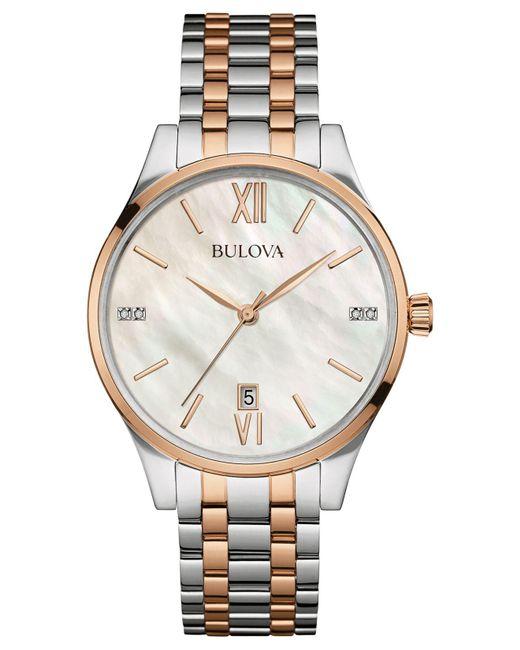 Bulova - Metallic Women's Diamond Accent Two-tone Stainless Steel Bracelet Watch 36mm 98p150 - Lyst