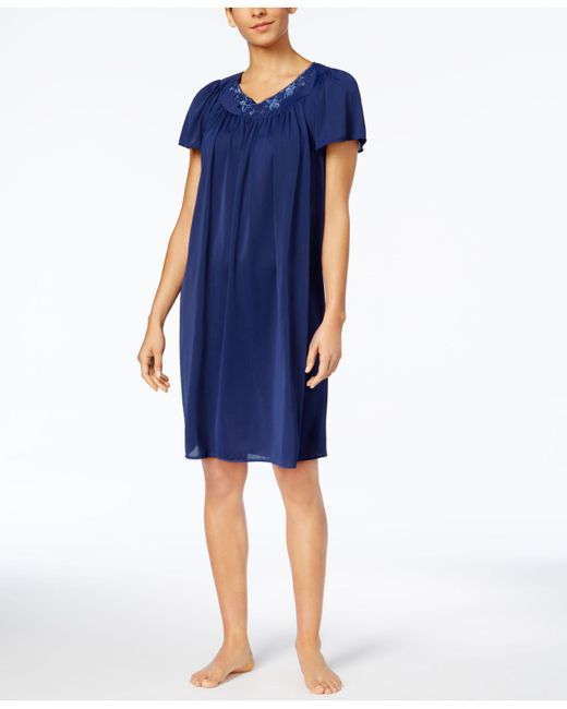 Miss Elaine | Blue Short-sleeve Embroidered Nightgown | Lyst