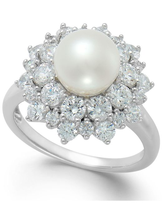 Arabella - Metallic Cultured Freshwater Pearl (8mm) And Swarovski Zirconia Ring In Sterling Silver - Lyst