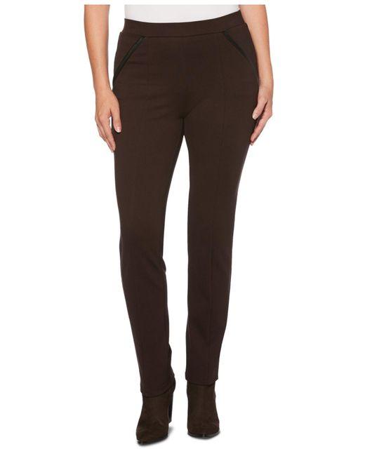 Rafaella Brown Ponte Comfort Fit Slim Leg Pants-short Inseam