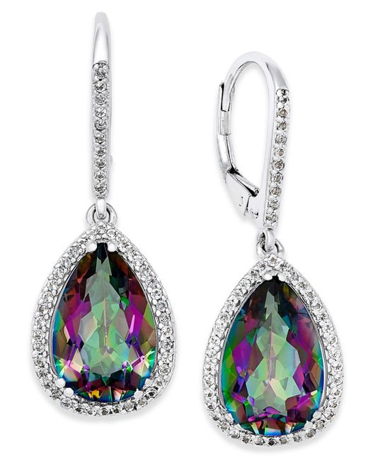 Macy's - Multicolor Mystic Topaz (9 Ct. T.w.) And White Topaz (1 Ct. T.w.) Drop Earrings In Sterling Silver - Lyst