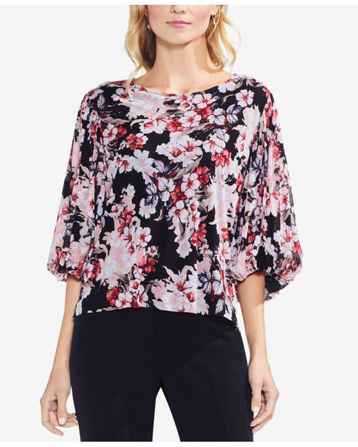 Vince Camuto - Black Floral-print Top - Lyst