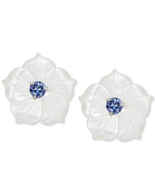 Macy's - Multicolor Mother-of-pearl & Tanzanite (1/2 Ct. T.w.) Flower Statement Stud Earrings In Sterling Silver - Lyst