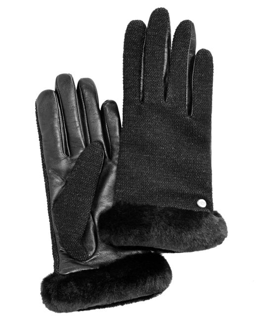 Ugg - Black Mixed Media Shorty Touch Gloves - Lyst