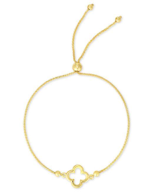 Macy's Metallic Clover Bolo Bracelet In 10k Gold
