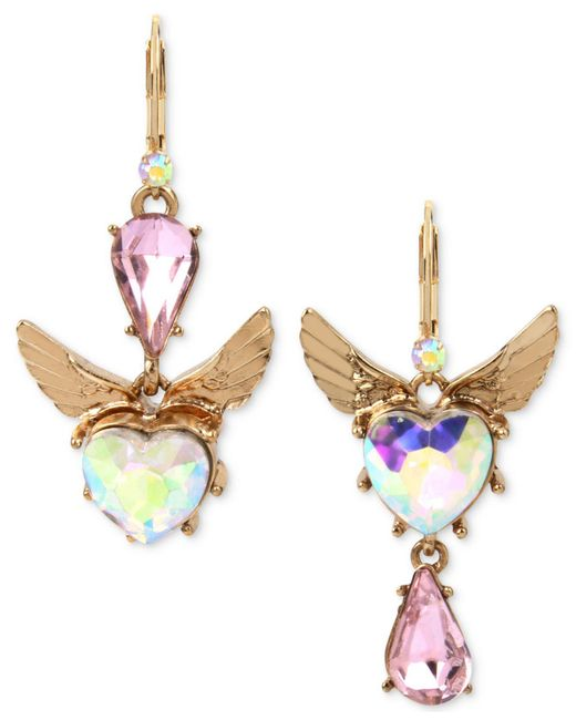 Betsey Johnson   Gold-tone Pink & Iridescent Stone Winged Heart Mismatch Earrings   Lyst