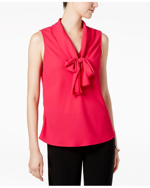 Nine West | Pink Crepe Tie-neck Shell | Lyst