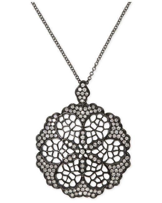 Effy Collection   Metallic Diamond Openwork Flower Pendant Necklace (5/8 Ct. T.w.) In Black Rhodium Plated 14k White Gold   Lyst