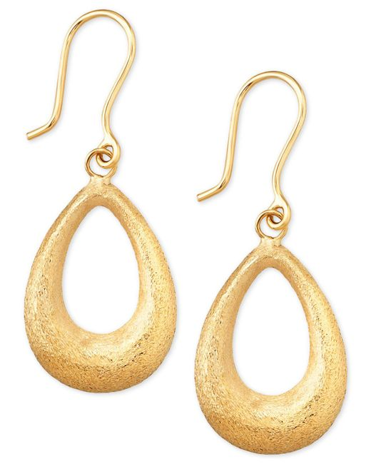 Macy's | Metallic Matte Finish Teardrop Drop Earrings In 10k Gold | Lyst