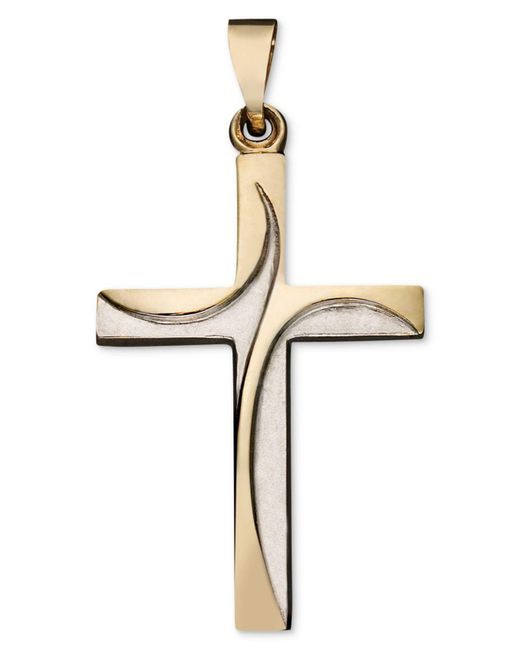 Macy's - Metallic 14k Gold Two Tone Pendant, Swirl Cross - Lyst