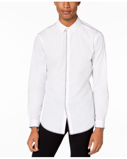 INC International Concepts - White Deco Topstitch Shirt, Created For Macy's for Men - Lyst