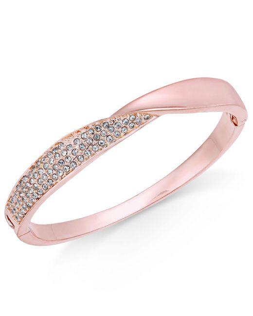 Charter Club | Pink Rose Gold-tone Pavé Twist Hinged Bangle Bracelet | Lyst