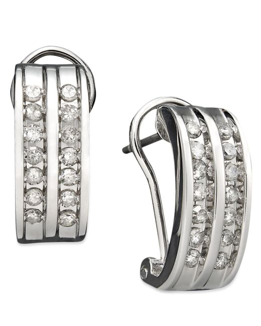 Macy's | Metallic Two-row Diamond Channel-set Hoop Earrings In 14k White Gold (3/8 Ct. T.w.) | Lyst