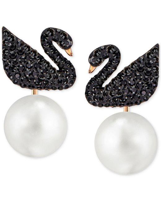 Swarovski Black Iconic Swan Pierced Earring Jackets