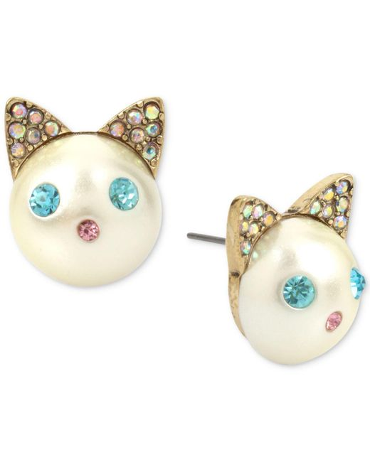Betsey Johnson | Blue Gold-tone Colored Pavé & Imitation Pearl Cat Stud Earrings | Lyst