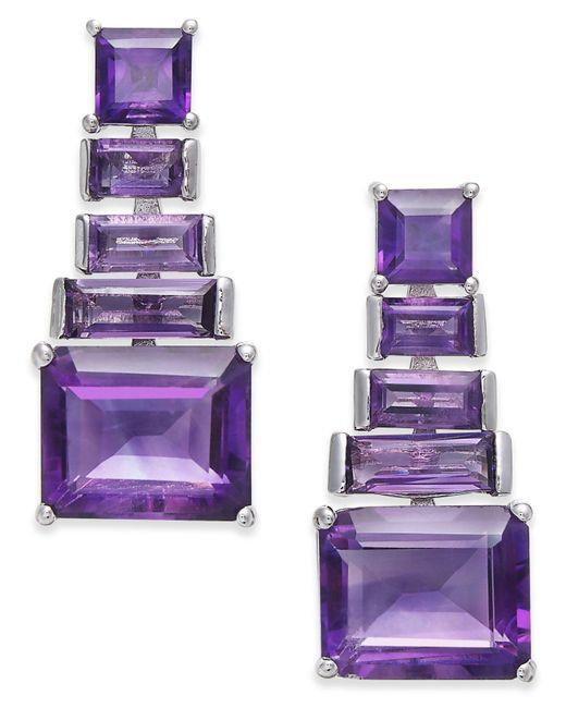 Macy's - Purple Amethyst Ladder Drop Earrings (7 Ct. T.w.) In Sterling Silver - Lyst