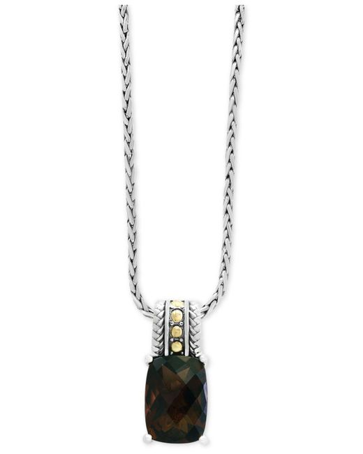 Effy Collection - Metallic Smoky Quartz Pendant Necklace (5-1/2 Ct. T.w.) In Sterling Silver And 18k Gold - Lyst
