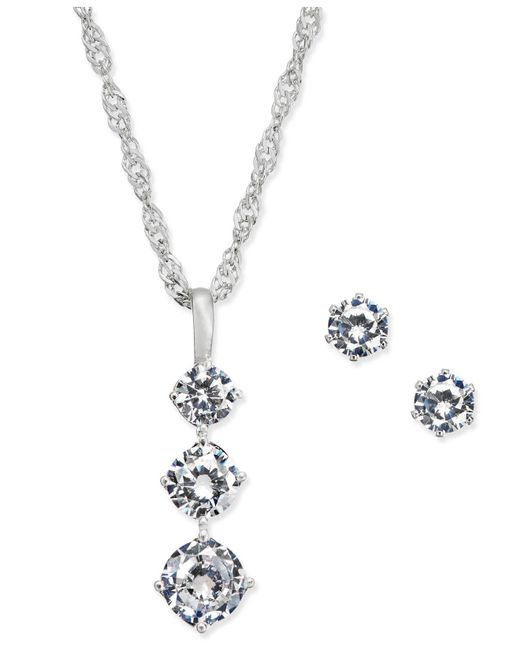Charter Club - Metallic Gold-tone Triple Crystal Pendant Necklace & Matching Stud Earrings Set - Lyst