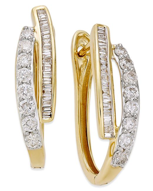 Macy's Metallic Diamond Hoop Earrings (1 Ct. T.w.) In 10k Yellow Gold Or White Gold