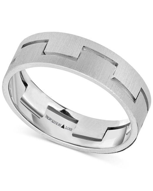 Proposition Love - Metallic Unisex Interlock Matte Wedding Band In 14k White Gold for Men - Lyst