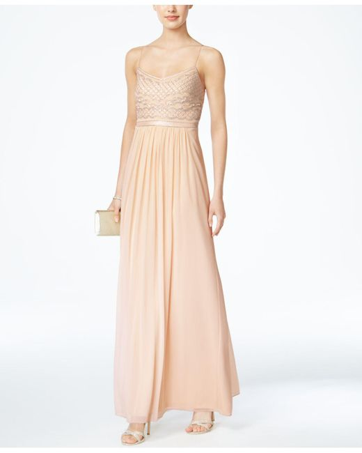 a36374b8510a Adrianna Papell - Natural Beaded Chiffon Gown - Lyst ...
