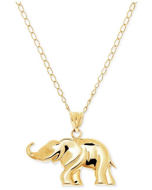 Macy's - Metallic Elephant Pendant Necklace In 10k Gold - Lyst