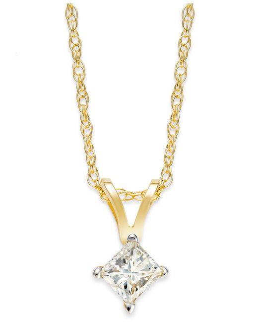 Macy's | Metallic Princess-cut Diamond Pendant Necklace In 10k Yellow Or White Gold (1/4 Ct. T.w.) | Lyst
