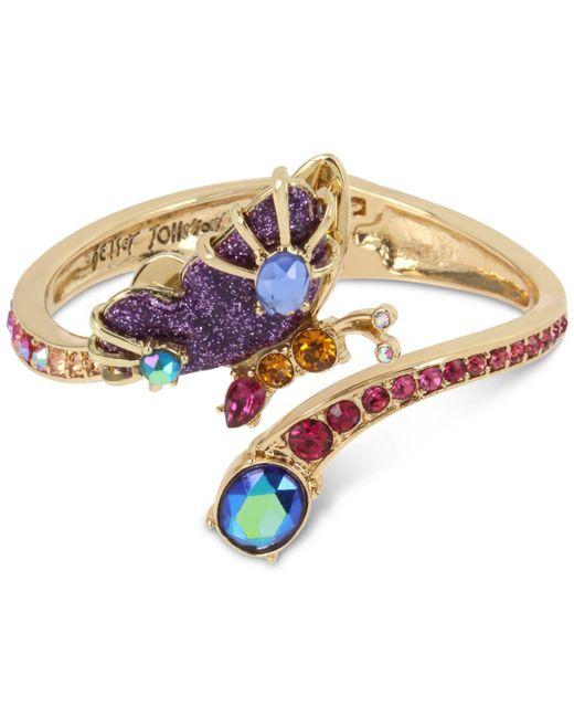 Betsey Johnson - Purple Gold-tone Butterfly & Stone Bypass Hinged Bangle Bracelet - Lyst
