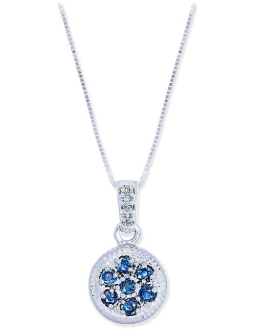 Macy's | Metallic Sapphire (3/8 Ct. T.w.) & Diamond Accent Disc Pendant Necklace In 14k White Gold | Lyst