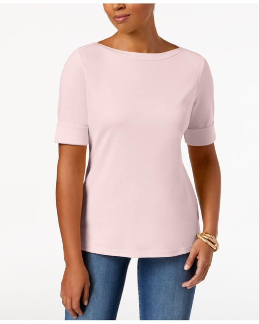 Karen Scott - Pink Cuffed Boat-neck Top, Created For Macy's - Lyst