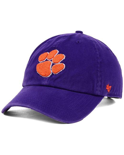 47 Brand Purple Clemson Tigers Ncaa Clean-up Cap for men