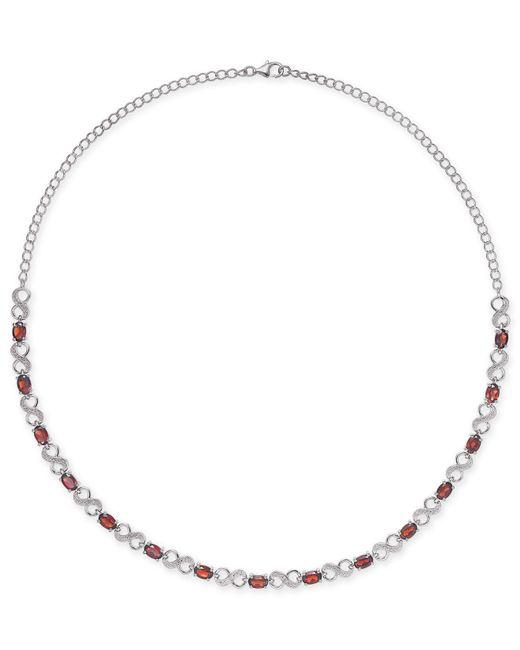 Macy's - Metallic Rhodolite Garnet (7-1/2 Ct. T.w.) & Diamond Accent Infinity Collar Necklace In Sterling Silver - Lyst