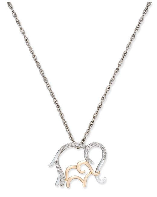 Macy's - Metallic Diamond Family Elephant Pendant Necklace (1/10 Ct. T.w.) In Sterling Silver And 14k Rose Gold - Lyst