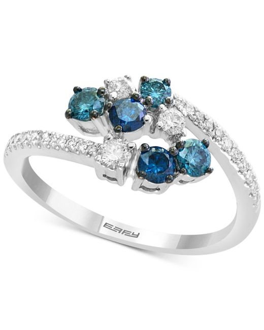 Effy Collection - Metallic Effy® Shades Of Bleu Diamond Cluster Bypass Ring (3/4 Ct. T.w.) In 14k White Gold - Lyst