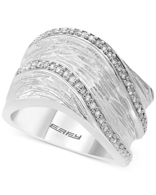 Effy Collection - Metallic Diamond Textured Statement Ring (1/4 Ct. T.w.) In Sterling Silver - Lyst