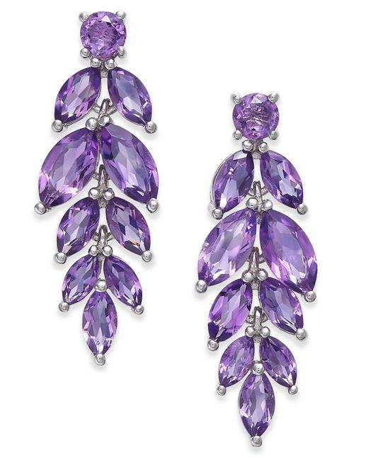 Macy's - Purple Amethyst Vine Drop Earrings (5-3/4 Ct. T.w.) In Sterling Silver - Lyst