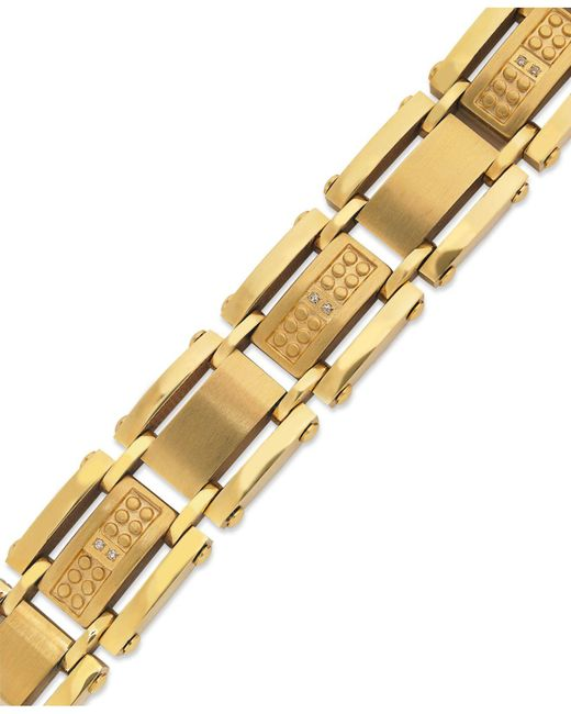 Macy's | Metallic Men's Single-cut Diamond Bracelet In Stainless Steel And Yellow-ion Plating (1/10 Ct. T.w.) for Men | Lyst