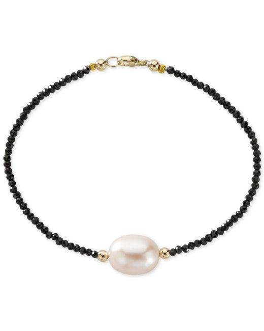 Macy's | Metallic Cultured Freshwater Pearl (10mm) And Black Spinel Bracelet In 14k Gold | Lyst