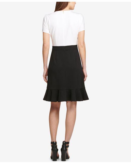 0eba99f4 ... DKNY - Black Colorblocked Flounce Sheath Dress, Created For Macy's ...