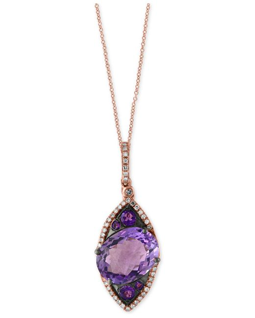 Effy Collection - Multicolor Amethyst (5-3/4 Ct. T.w.) And Diamond (1/6 Ct. T.w.) Pendant Necklace In 14k Rose Gold - Lyst