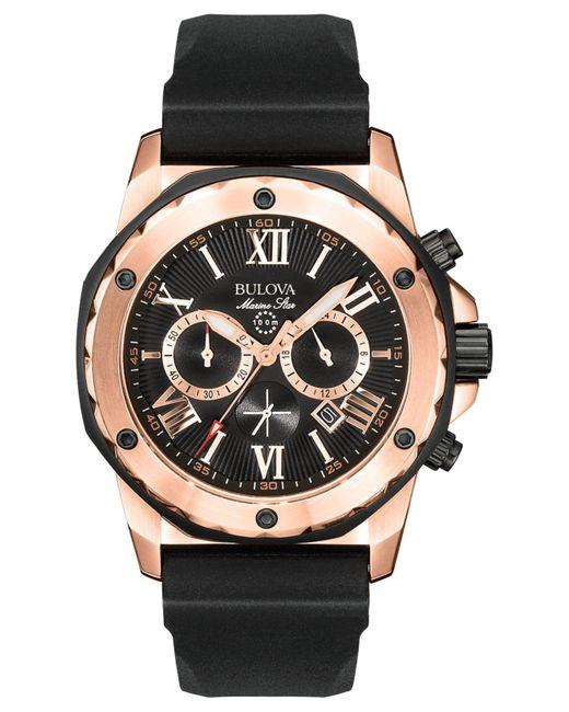 Bulova Metallic Men's Chronograph Black Rubber Strap Watch 44mm 98b104 for men