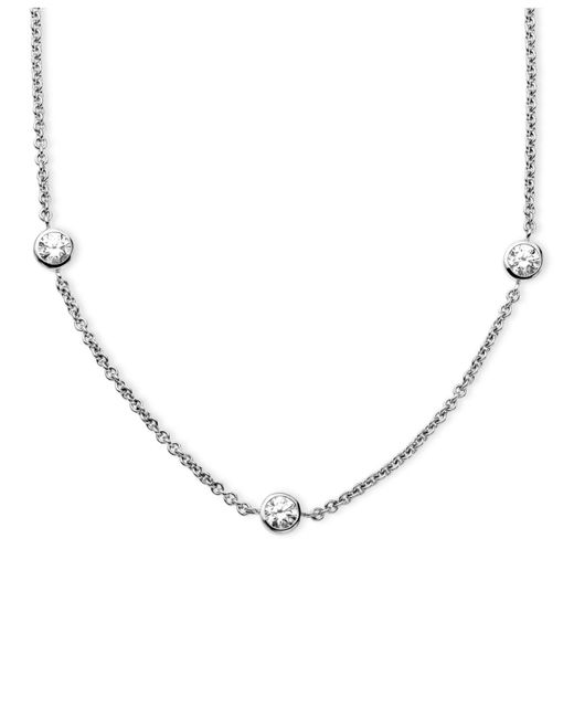 Arabella | Metallic Sterling Silver Necklace, White Round-cut Swarovski Zirconia 7-station Necklace (3-1/6 Ct. T.w.) | Lyst